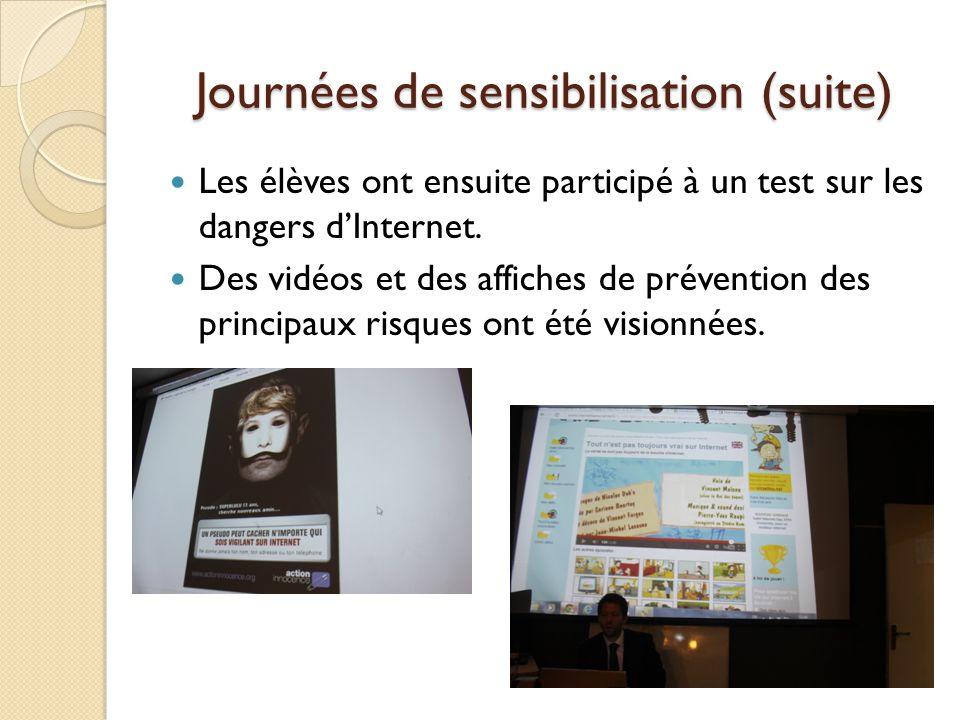 Journées de sensibilisation (suite) Les élèves ont ensuite participé à un test sur les dangers dInternet.