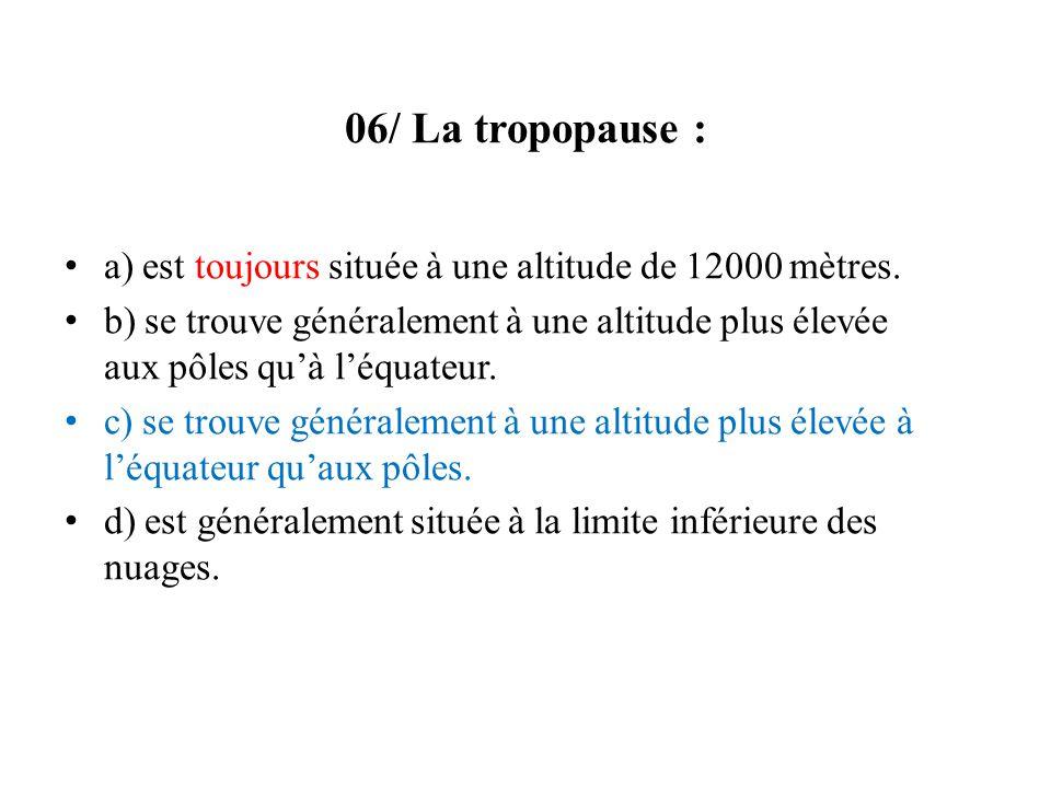 06/ La tropopause : a) est toujours située à une altitude de 12000 mètres.