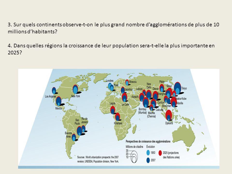 3. Sur quels continents observe-t-on le plus grand nombre dagglomérations de plus de 10 millions dhabitants? 4. Dans quelles régions la croissance de