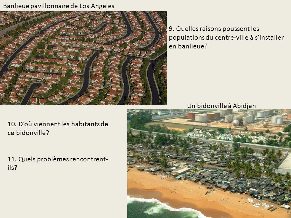 Banlieue pavillonnaire de Los Angeles Un bidonville à Abidjan 10. Doù viennent les habitants de ce bidonville? 11. Quels problèmes rencontrent- ils? 9