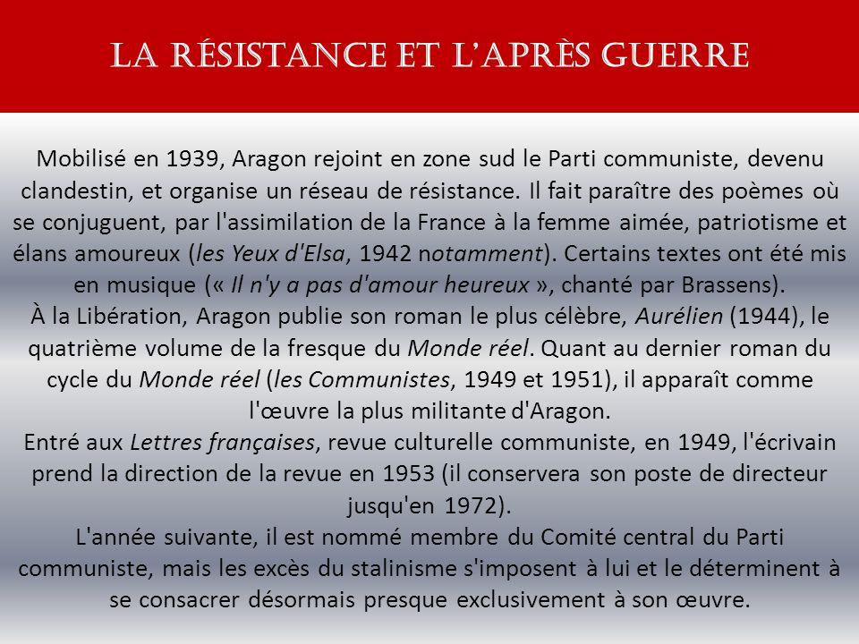 Mobilisé en 1939, Aragon rejoint en zone sud le Parti communiste, devenu clandestin, et organise un réseau de résistance.