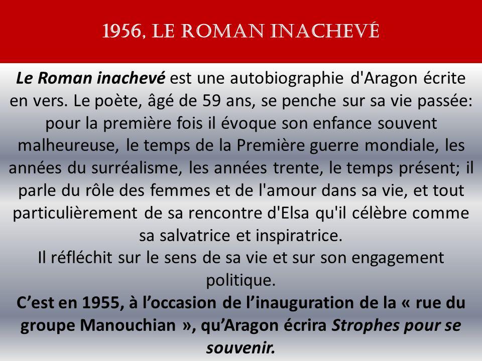 Le Roman inachevé est une autobiographie d Aragon écrite en vers.