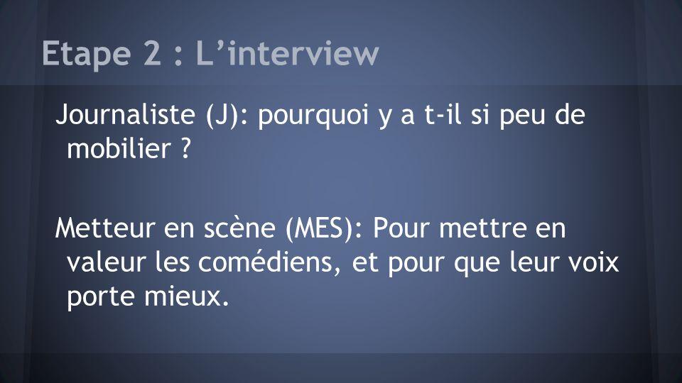 Etape 2 : Linterview Journaliste (J): pourquoi y a t-il si peu de mobilier ? Metteur en scène (MES): Pour mettre en valeur les comédiens, et pour que