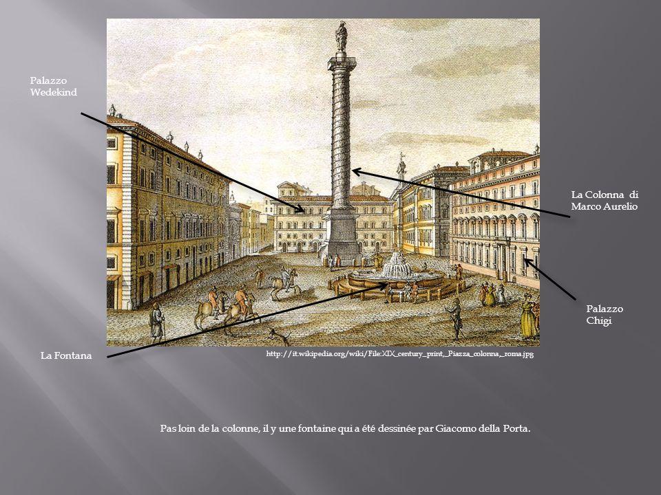 http://it.wikipedia.org/wiki/File:XIX_century_print,_Piazza_colonna,_roma.jpg La Colonna di Marco Aurelio Palazzo Chigi Palazzo Wedekind La Fontana Pa