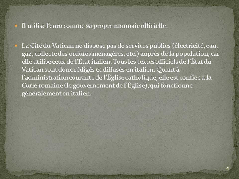 Il utilise leuro comme sa propre monnaie officielle. La Cité du Vatican ne dispose pas de services publics (électricité, eau, gaz, collecte des ordure