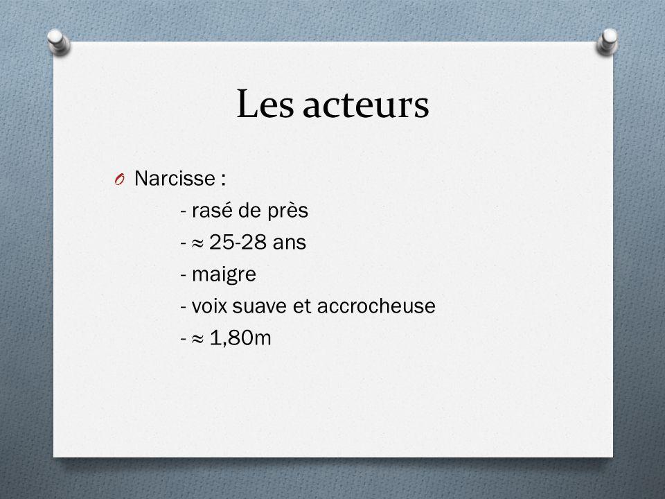 Les acteurs O Narcisse : - rasé de près - 25-28 ans - maigre - voix suave et accrocheuse - 1,80m