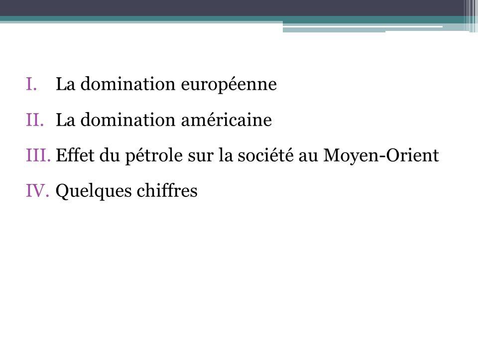 I.La domination européenne II.La domination américaine III.Effet du pétrole sur la société au Moyen-Orient IV.Quelques chiffres