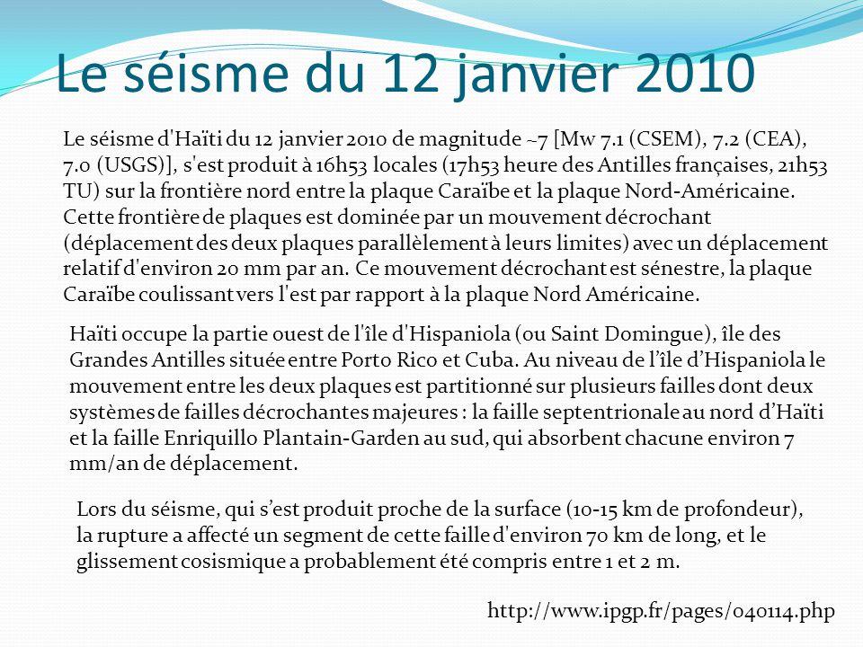 Le séisme du 12 janvier 2010 Le séisme d Haïti du 12 janvier 2010 de magnitude ~7 [Mw 7.1 (CSEM), 7.2 (CEA), 7.0 (USGS)], s est produit à 16h53 locales (17h53 heure des Antilles françaises, 21h53 TU) sur la frontière nord entre la plaque Caraïbe et la plaque Nord-Américaine.