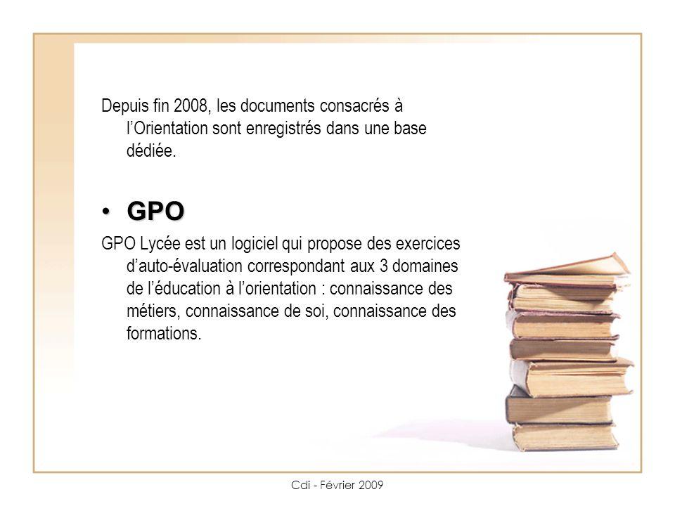 Cdi - Février 2009 Depuis fin 2008, les documents consacrés à lOrientation sont enregistrés dans une base dédiée.