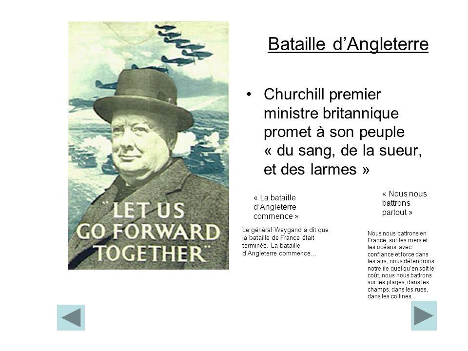 Bataille dAngleterre Churchill premier ministre britannique promet à son peuple « du sang, de la sueur, et des larmes » « Nous nous battrons partout »