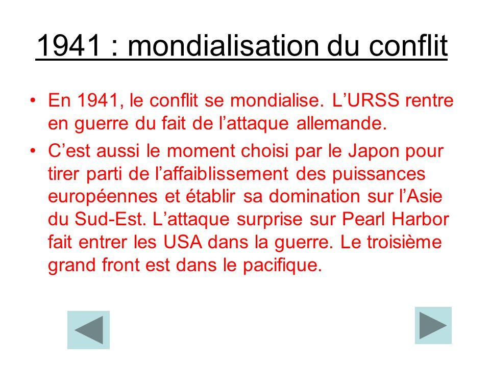 1941 : mondialisation du conflit En 1941, le conflit se mondialise. LURSS rentre en guerre du fait de lattaque allemande. Cest aussi le moment choisi