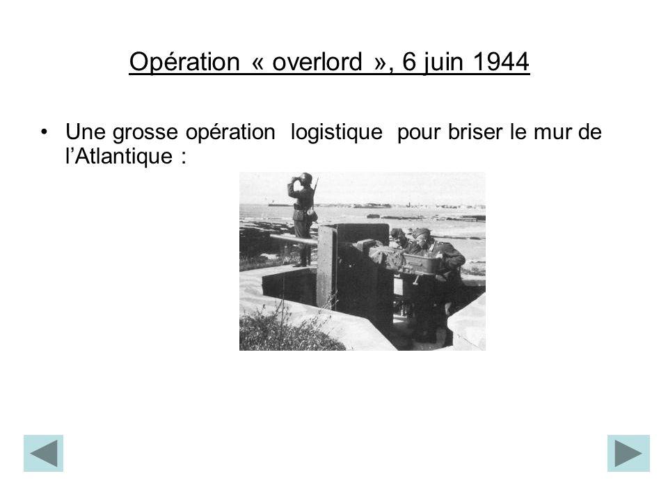 Opération « overlord », 6 juin 1944 Une grosse opération logistique pour briser le mur de lAtlantique :