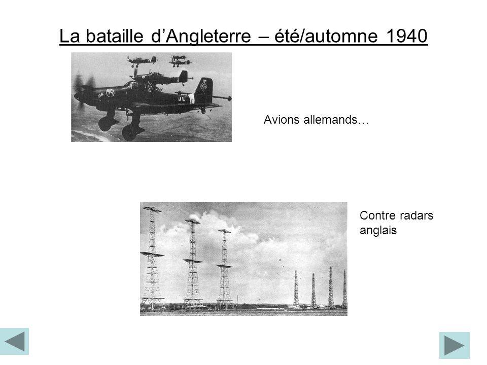La bataille dAngleterre – été/automne 1940 Avions allemands… Contre radars anglais