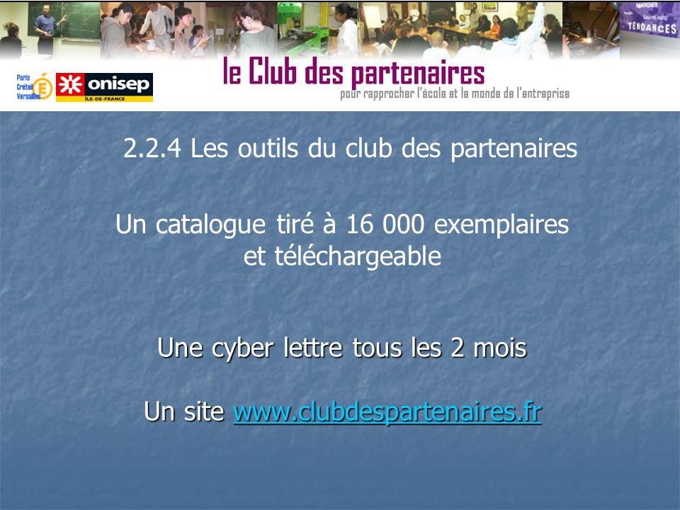 Une cyber lettre tous les 2 mois Un site www.clubdespartenaires.fr www.clubdespartenaires.fr 2.2.4 Les outils du club des partenaires Un catalogue tir