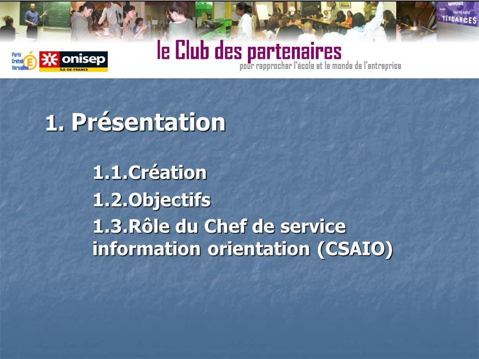 1. Présentation 1.1.Création1.2.Objectifs 1.3.Rôle du Chef de service information orientation (CSAIO)