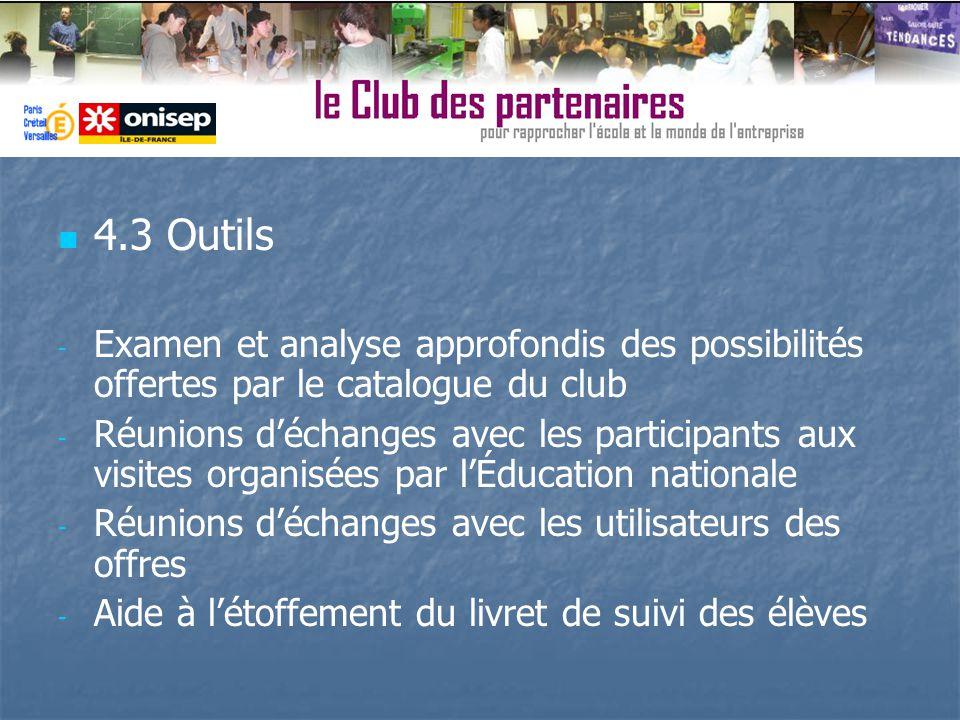 4.3 Outils - - Examen et analyse approfondis des possibilités offertes par le catalogue du club - - Réunions déchanges avec les participants aux visit