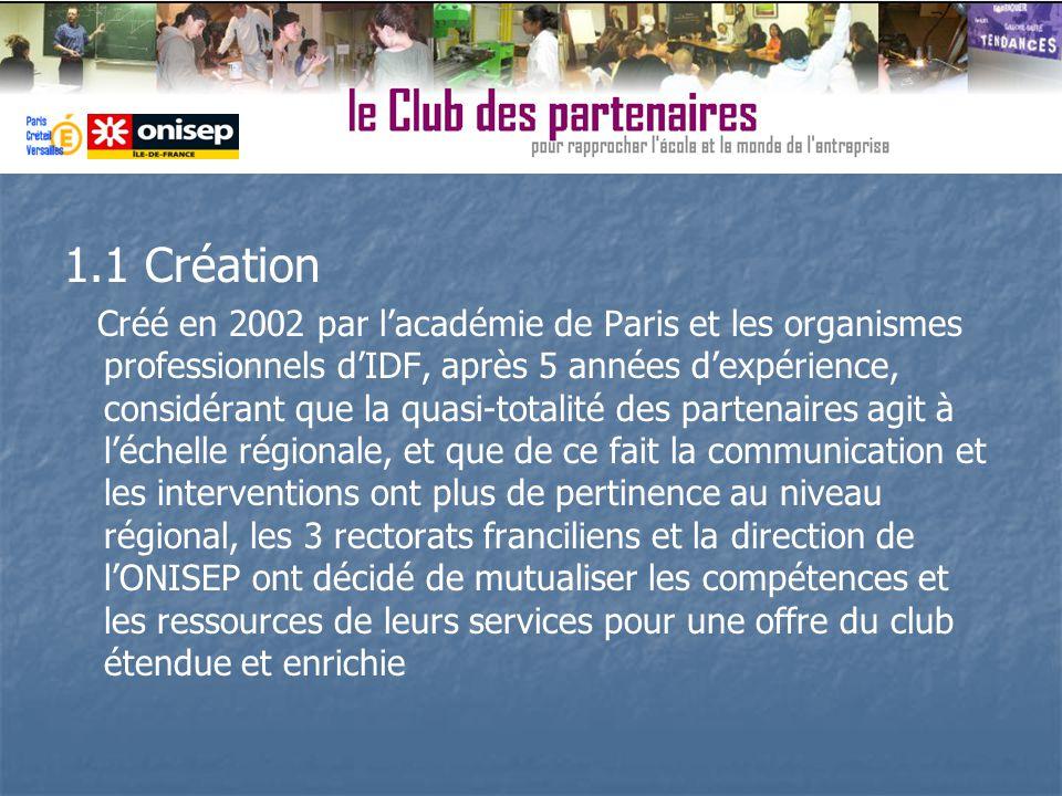 1.1 Création Créé en 2002 par lacadémie de Paris et les organismes professionnels dIDF, après 5 années dexpérience, considérant que la quasi-totalité