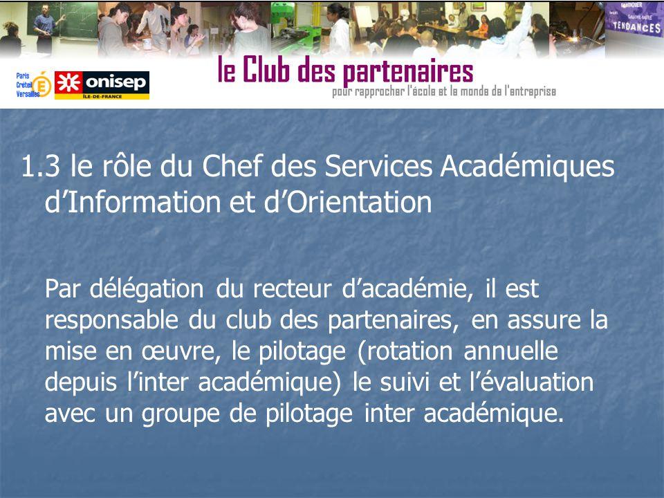1.3 le rôle du Chef des Services Académiques dInformation et dOrientation Par délégation du recteur dacadémie, il est responsable du club des partenai