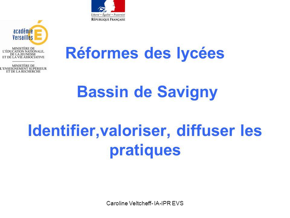 Caroline Veltcheff- IA-IPR EVS Réformes des lycées Bassin de Savigny Identifier, valoriser, diffuser les pratiques 1.Expériences et pratiques: pourquoi mutualiser.