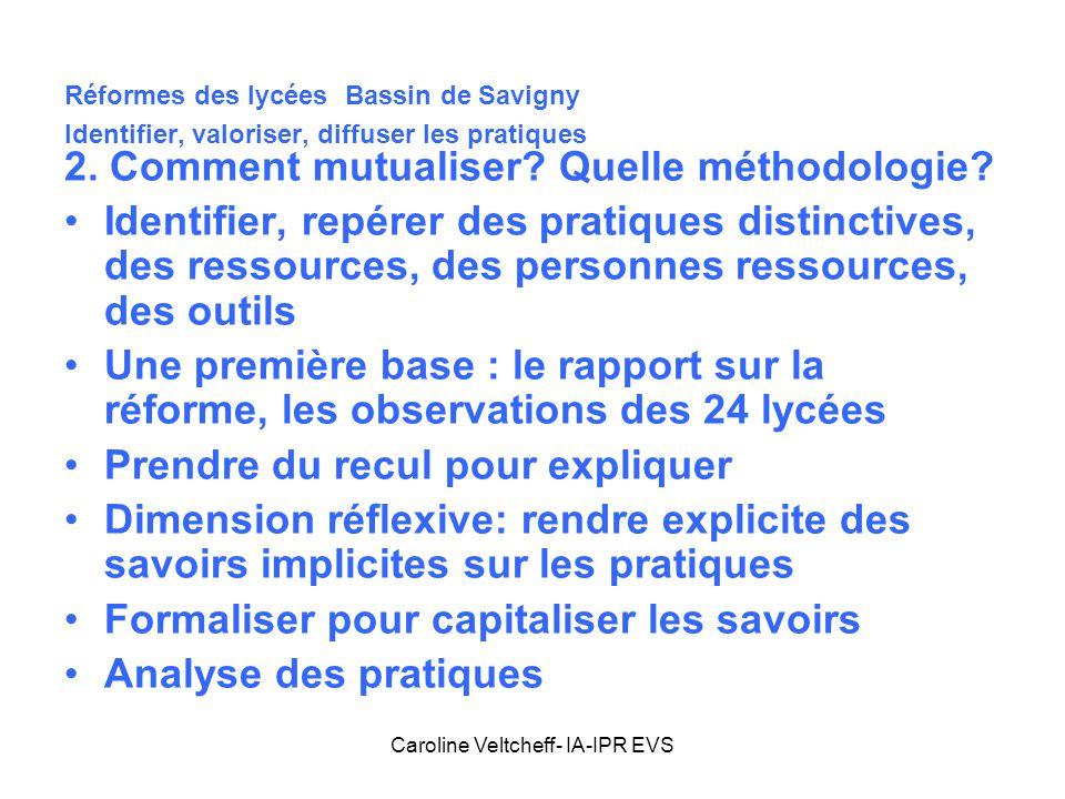 Caroline Veltcheff- IA-IPR EVS Réformes des lycées Bassin de Savigny Identifier, valoriser, diffuser les pratiques 2. Comment mutualiser? Quelle métho