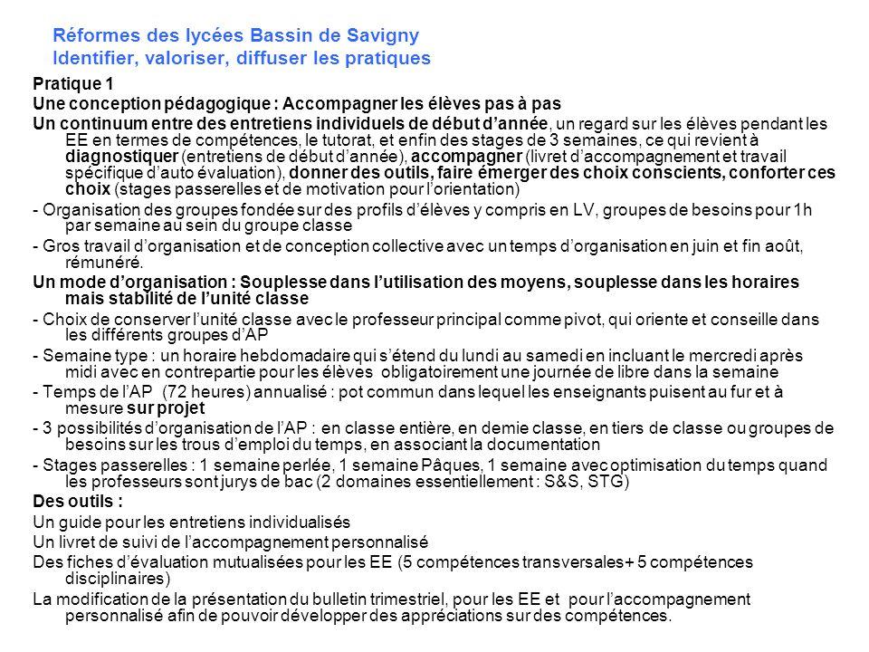 Réformes des lycées Bassin de Savigny Identifier, valoriser, diffuser les pratiques Pratique 1 Une conception pédagogique : Accompagner les élèves pas