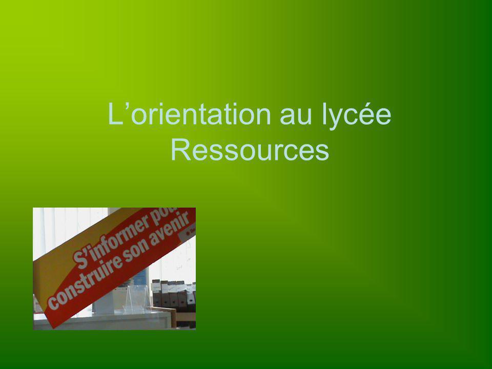 Lorientation au lycée Ressources