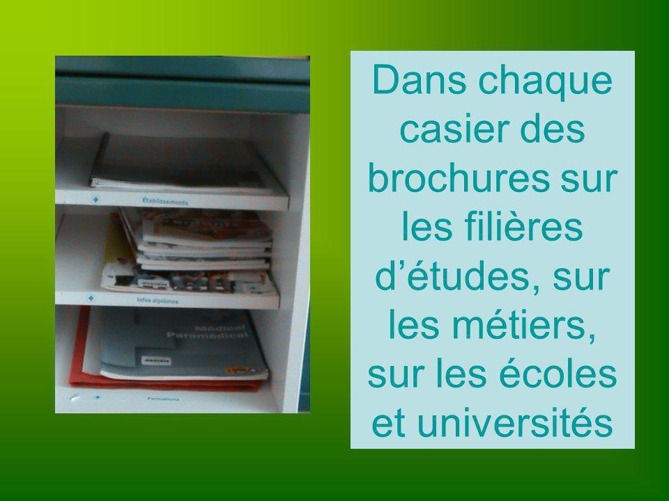 Dans chaque casier des brochures sur les filières détudes, sur les métiers, sur les écoles et universités