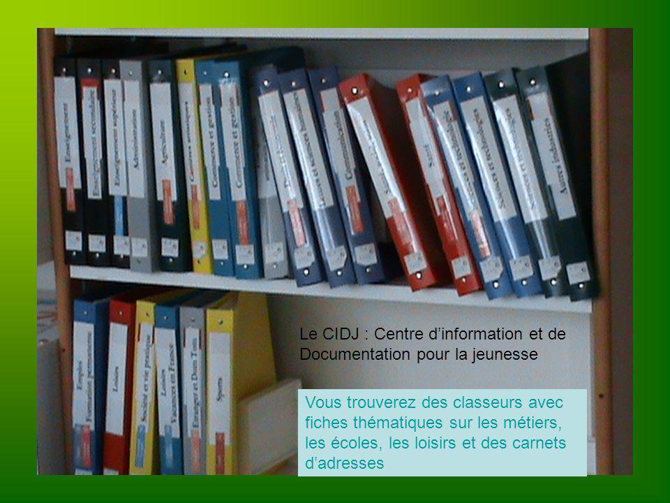 Le CIDJ : Centre dinformation et de Documentation pour la jeunesse Vous trouverez des classeurs avec fiches thématiques sur les métiers, les écoles, les loisirs et des carnets dadresses