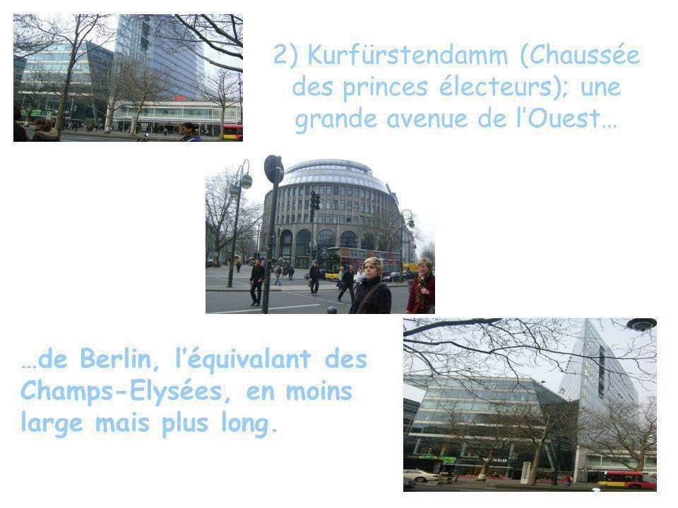 2) Kurfürstendamm (Chaussée des princes électeurs); une grande avenue de lOuest… …de Berlin, léquivalant des Champs-Elysées, en moins large mais plus