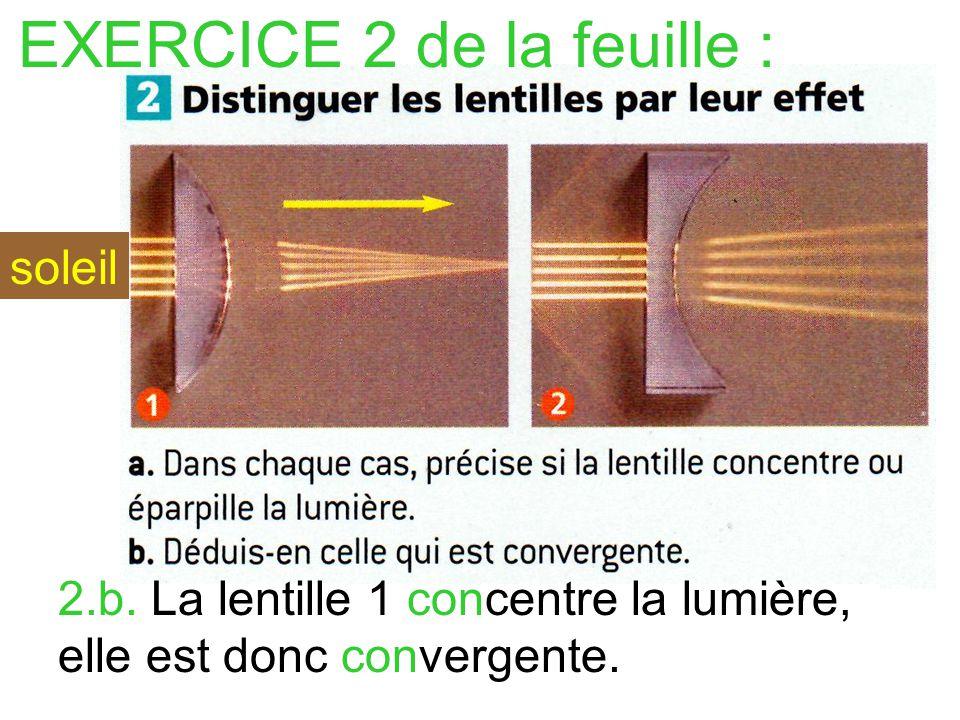 1.b.Daprès le cours, les lentilles qui ont un bord plus mince que le centre sont convergentes.