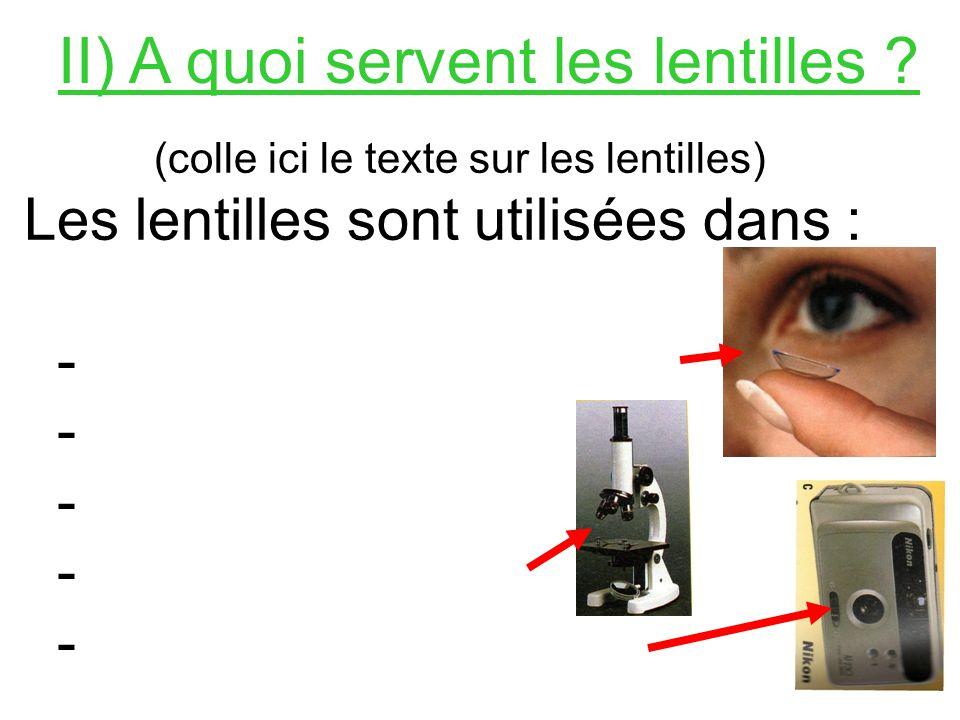 II) A quoi servent les lentilles .