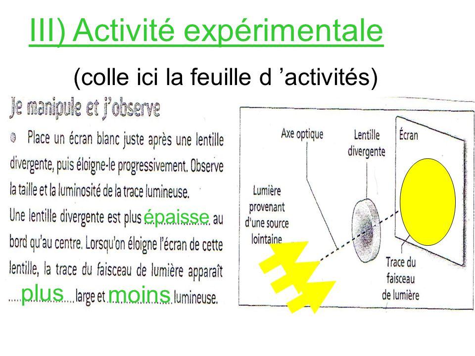III) Activité expérimentale (colle ici la feuille d activités) épaisse plus moins
