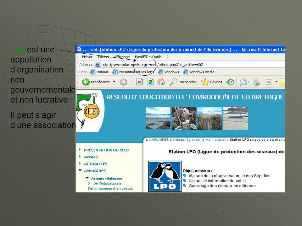 .org est une appellation dorganisation non gouvernementale et non lucrative Il peut sagir dune association