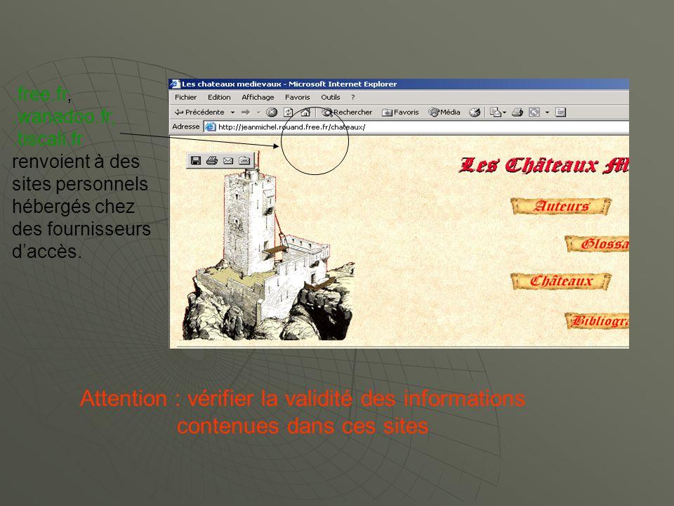 .free.fr,.wanadoo.fr,.tiscali.fr renvoient à des sites personnels hébergés chez des fournisseurs daccès.