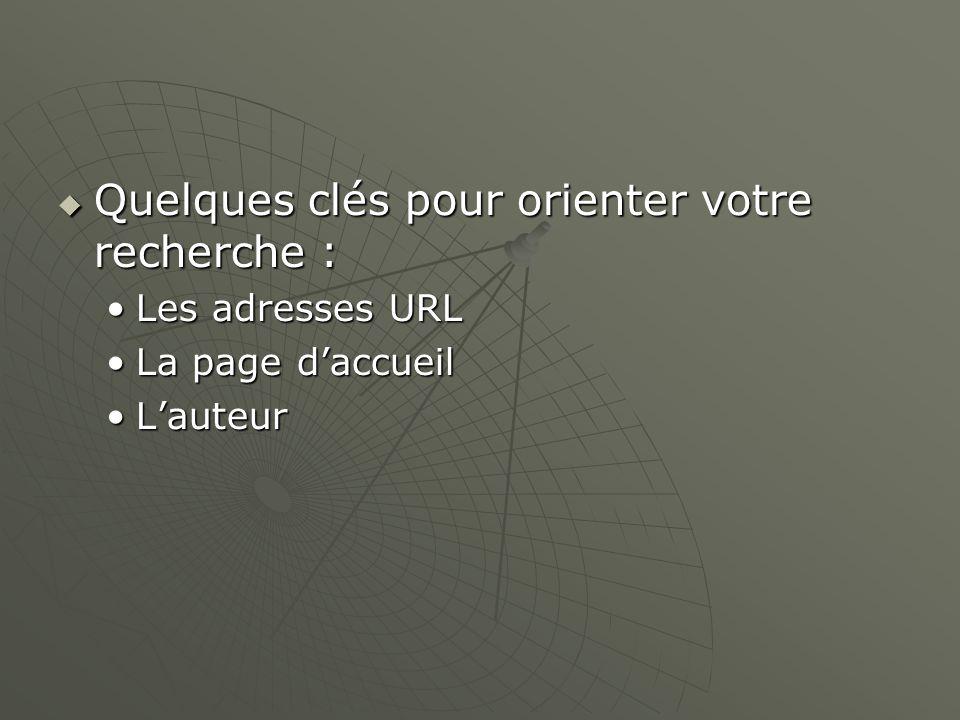 Quelques clés pour orienter votre recherche : Quelques clés pour orienter votre recherche : Les adresses URLLes adresses URL La page daccueilLa page daccueil LauteurLauteur