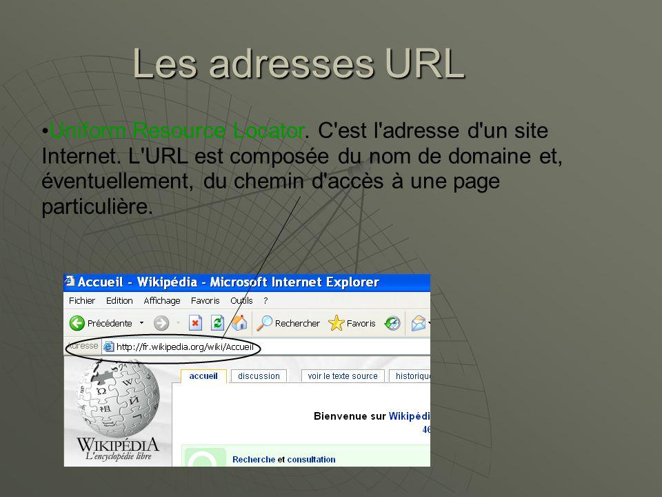 Les adresses URL Uniform Resource Locator.C est l adresse d un site Internet.