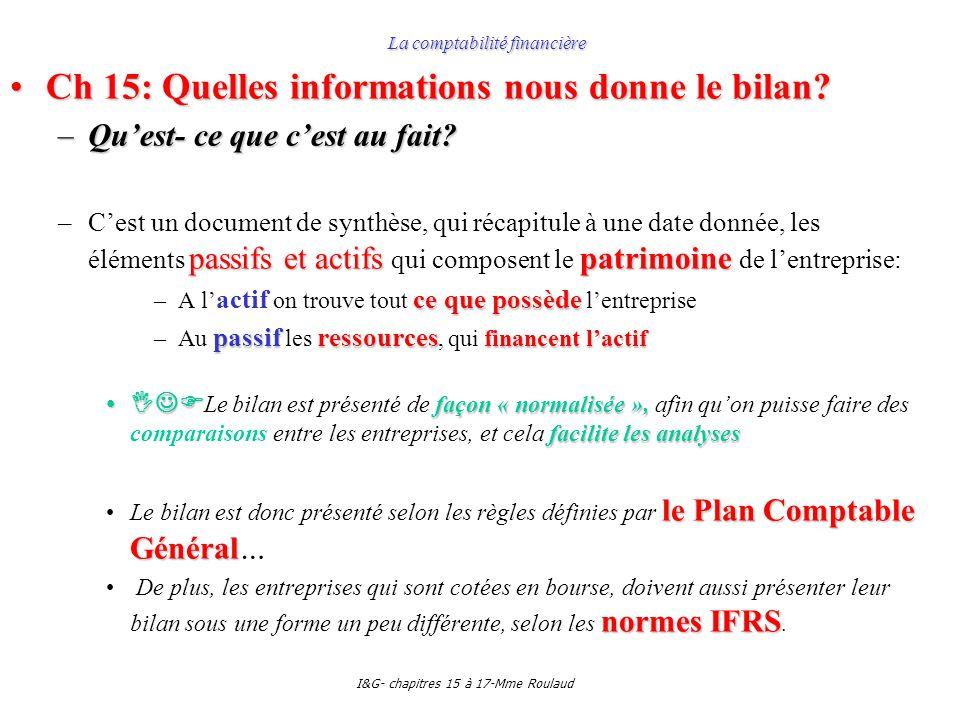 I&G- chapitres 15 à 17-Mme Roulaud La comptabilité financière Ch 15: Quelles informations nous donne le bilan?Ch 15: Quelles informations nous donne l