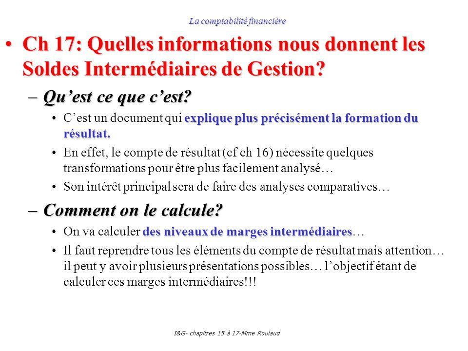I&G- chapitres 15 à 17-Mme Roulaud La comptabilité financière Ch 17: Quelles informations nous donnent les Soldes Intermédiaires de Gestion?Ch 17: Quelles informations nous donnent les Soldes Intermédiaires de Gestion.