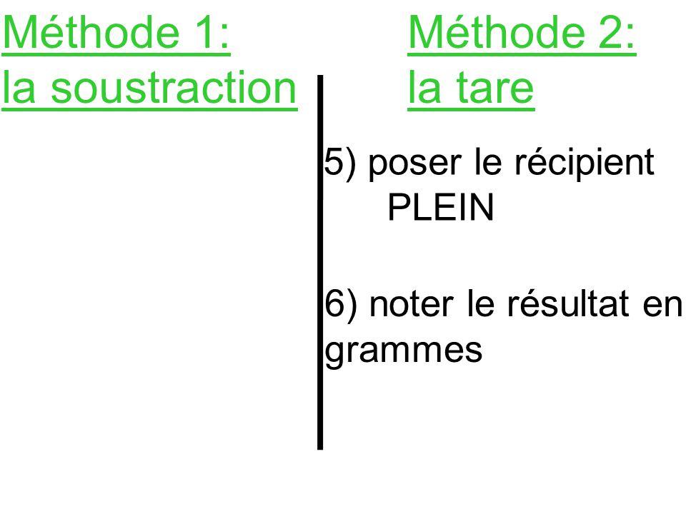 Méthode 1: la soustraction Méthode 2: la tare 5) poser le récipient PLEIN 6) noter le résultat en grammes