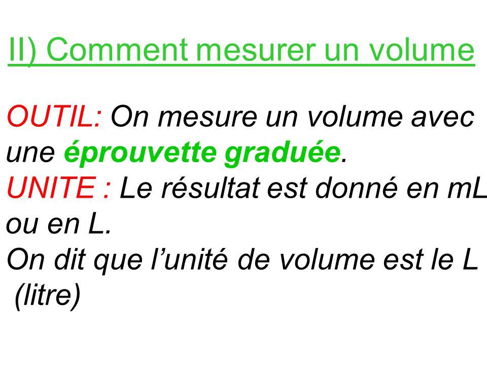 II) Comment mesurer un volume OUTIL: On mesure un volume avec une éprouvette graduée. UNITE : Le résultat est donné en mL ou en L. On dit que lunité d