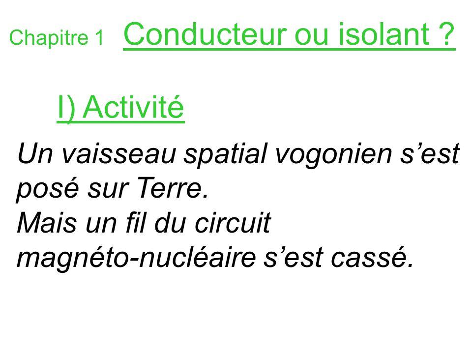 Chapitre 1 Conducteur ou isolant ? Un vaisseau spatial vogonien sest posé sur Terre. Mais un fil du circuit magnéto-nucléaire sest cassé. I) Activité