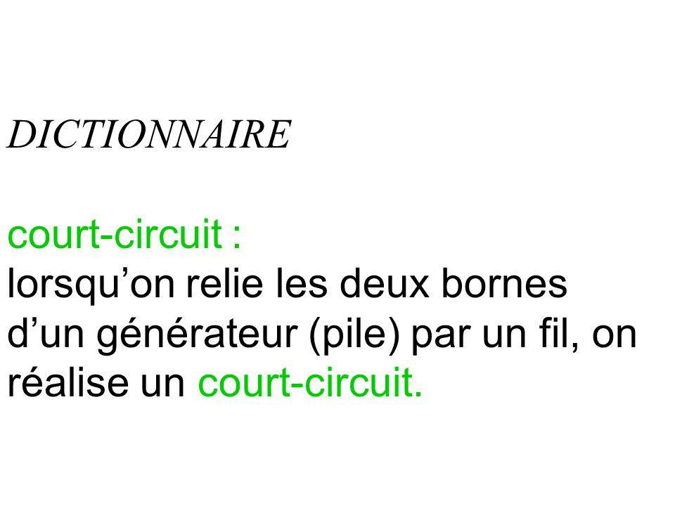 DICTIONNAIRE court-circuit : lorsquon relie les deux bornes dun générateur (pile) par un fil, on réalise un court-circuit.