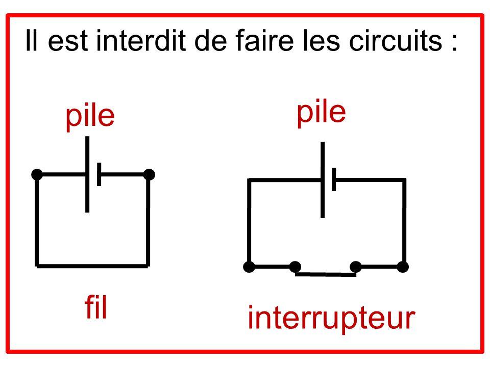 Il est interdit de faire les circuits : pile fil pile interrupteur