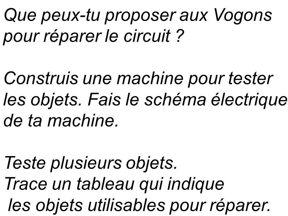 Que peux-tu proposer aux Vogons pour réparer le circuit ? Construis une machine pour tester les objets. Fais le schéma électrique de ta machine. Teste