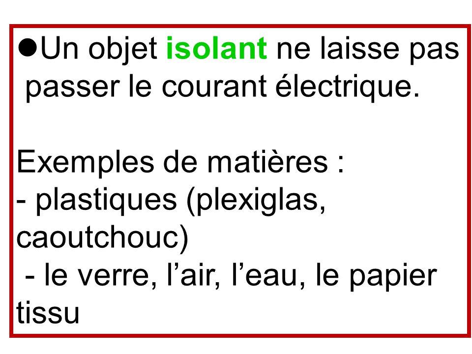 Un objet isolant ne laisse pas passer le courant électrique. Exemples de matières : - plastiques (plexiglas, caoutchouc) - le verre, lair, leau, le pa