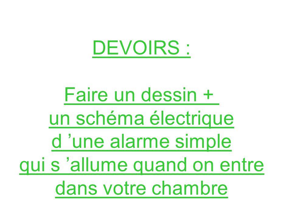DEVOIRS : Faire un dessin + un schéma électrique d une alarme simple qui s allume quand on entre dans votre chambre