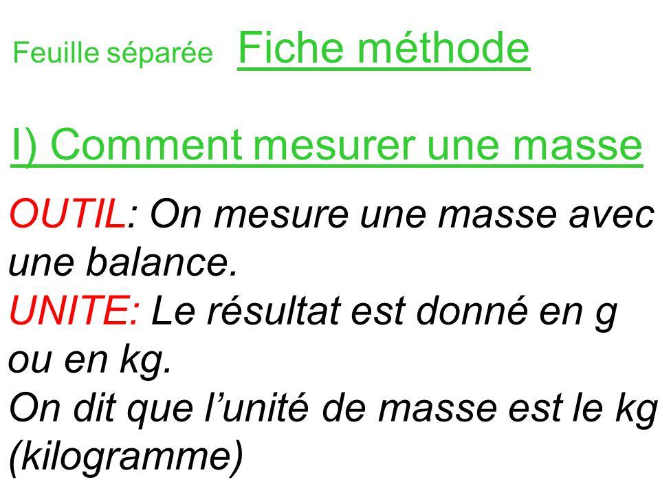 Feuille séparée Fiche méthode OUTIL: On mesure une masse avec une balance. UNITE: Le résultat est donné en g ou en kg. On dit que lunité de masse est