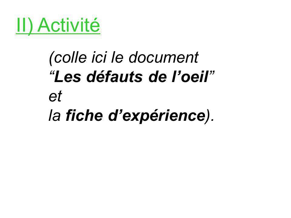 II) Activité (colle ici le document Les défauts de loeil et la fiche dexpérience).