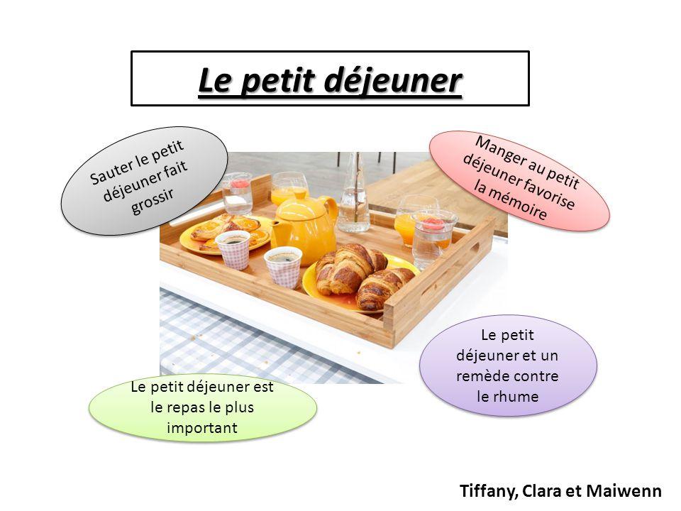 Le petit déjeuner Tiffany, Clara et Maiwenn Sauter le petit déjeuner fait grossir Manger au petit déjeuner favorise la mémoire Le petit déjeuner est l