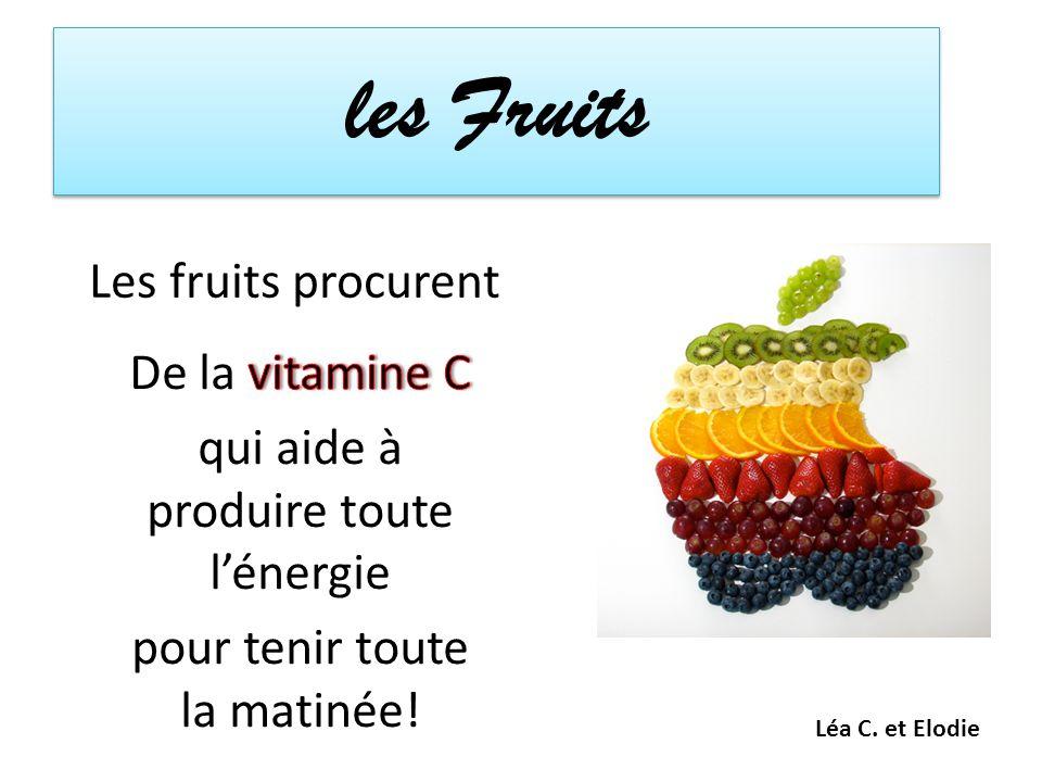 les Fruits Les fruits procurent Léa C. et Elodie